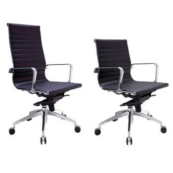 Kew High Back and Medium Back Chairs, Black