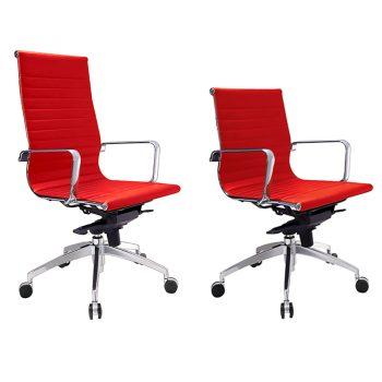 Kew High Back and Medium Back Chairs, Red