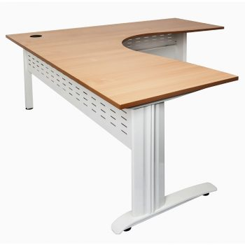 Smart Corner Workstation, Beech Desk Top White Base