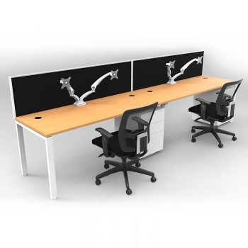 Smooth Ergonomic Dual Monitor Arm - in Position