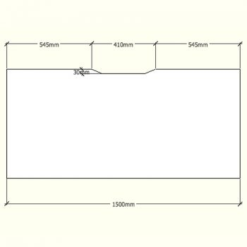 Straight Desk Top with Scalloped Edge, Dimensions - 1500mm x 700mm