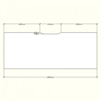Straight Desk Top with Scalloped Edge, Dimensions - 1800mm x 700mm