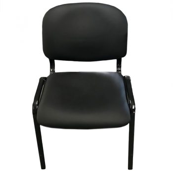 Apollo Visitor Chair, Black Vinyl, Front View