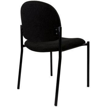 Katherine Visitor Chair, Black Fabric, Rear View