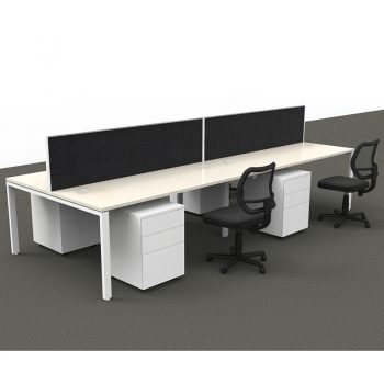 Modular 4 Back to Back Desks with Screen Dividers, 4 Surrey Mesh Back Chairs and 4 Super Heavy Duty Metal Mobile Drawer Unit Package