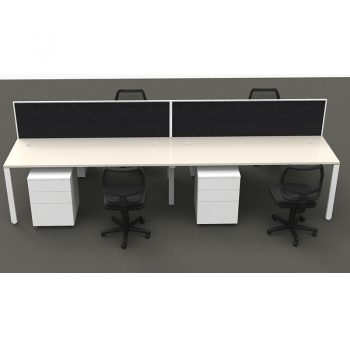 Modular 4 Back to Back Desks with Screen Dividers, 4 Surrey Mesh Back Chairs and 4 Super Heavy Duty Metal Mobile Drawer Unit Package, Front View