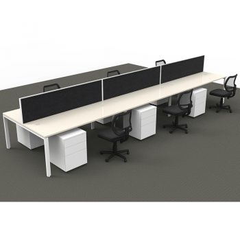 Modular 6 Back to Back Desks with Screen Dividers, 6 Surrey Mesh Back Chairs and 6 Super Heavy Duty Metal Mobile Drawer Unit Package