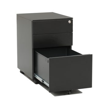 Monaco Metal Mobile Drawer Unit, Black, Open