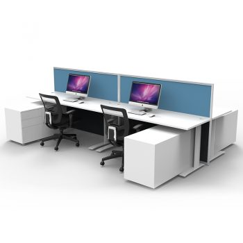 Smart 4 Back to Back Desks with 2 Floor Standing Screen Dividers and Storage Caddies