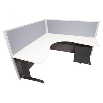 Smart Corner Workstation White Desk Top, with 1250mm High Grey Screen Dividers