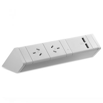 System Infinite Desk Top Power Rail, 2 Power Outlets and 2 USB Outlets