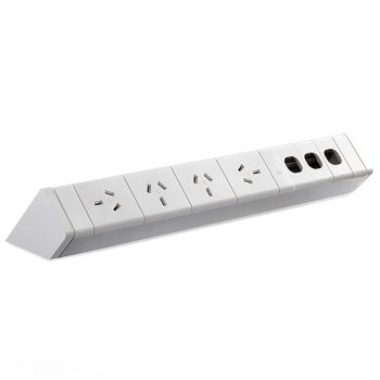 System Infinite Desk Top Power Rail, 4 Power Outlets and Space for 3 Data Outlets