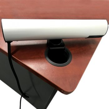 Access Desk Top Power Rail, Rear View Clamped Through 80mm Cable Entry