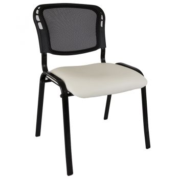 Apollo Mesh Back Visitor Chair, White Vinyl Seat