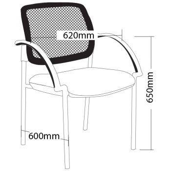 Atlas 4 Leg Chair with Arms, Dimensions