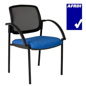 Atlas Visitor Chair Black 4 Leg Frame with Arms, Black Mesh Back