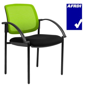 Atlas Visitor Chair Black 4 Leg Frame with Arms, Lime Mesh Back