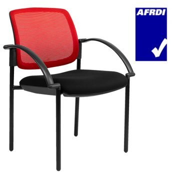 Atlas Visitor Chair Black 4 Leg Frame with Arms, Red Mesh Back