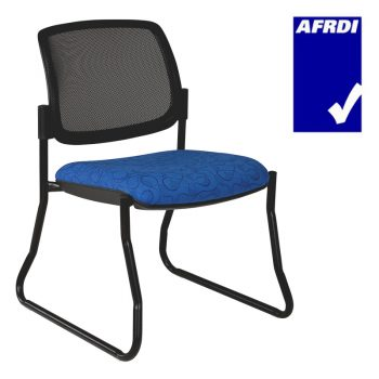 Atlas Visitor Chair Black Sled Frame no Arms, Black Mesh Back