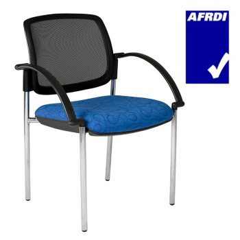 Atlas Visitor Chair Chrome 4 Leg Frame with Arms, Black Mesh Back