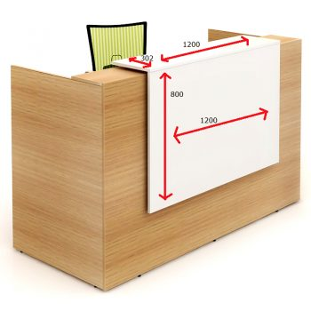 Rosalie Beech Reception Desk, Dimensioned