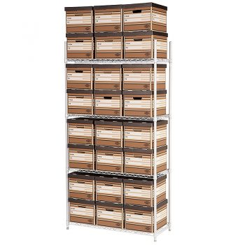 Wireway Shelving, White with Archive Boxes