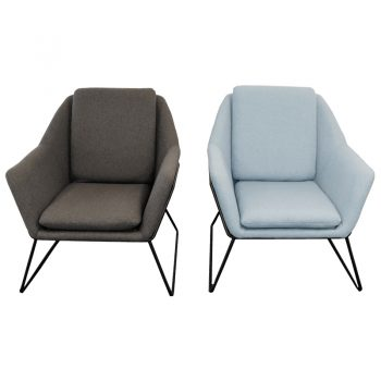 Beta Chairs, Charcoal and Blue, Front View
