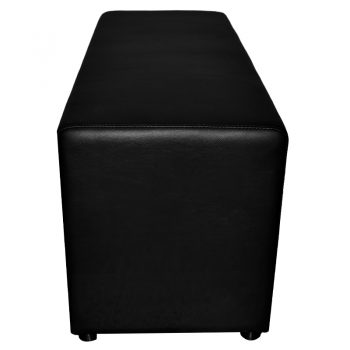 Buddy Large Ottoman, End View, Black Vinyl
