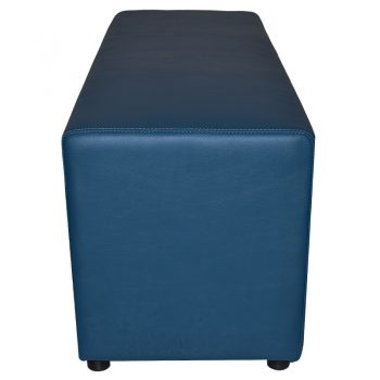 Buddy Large Ottoman, End View, Blue Vinyl