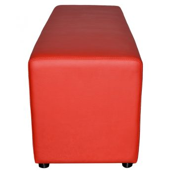 Buddy Large Ottoman, End View, Red Vinyl