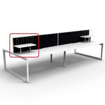 Optional Desk Mounted Shelf in Bright White with White Frame, Black Screens