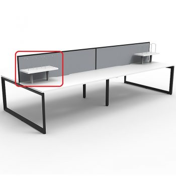 Optional Desk Mounted Shelf, White with White Frame, Grey Screens