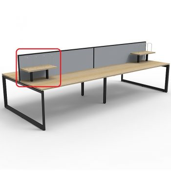 Optional Desk Mounted Shelf, Natural Oak with Black Frame, Grey Screens