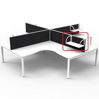 Optional Supreme Screen Mounted Shelf, White with White Brackets, Black Screens