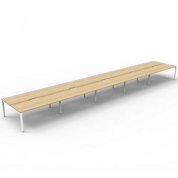 Supreme 10-Way Desk Pod, Natural Oak Desk Tops, White Under Frame, No Screen Dividers