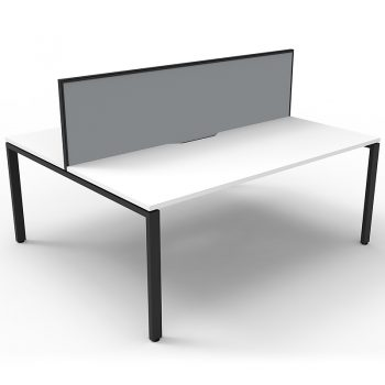 Supreme 2-Way Desk Pod, White Desk Tops, Black Under Frame, with Grey Screen Divider
