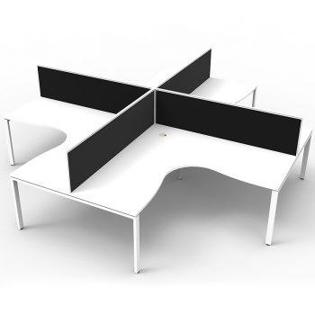 4 corner workstation pod, white and black