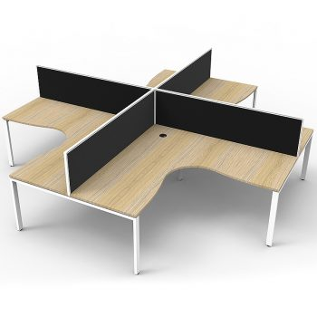 4 corner workstation pod, timber and black