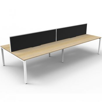 Supreme 4-Way Desk Pod, Natural Oak Desk Tops, White Under Frame, with Black Screen Dividers