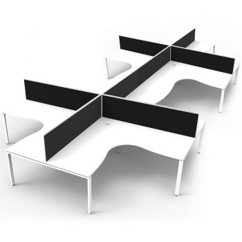 8 corner workstation pod, white and black