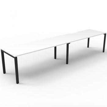 Supreme Desk, 2 Person In-Line, White Desk Tops, Black Under Frame, No Screen Dividers