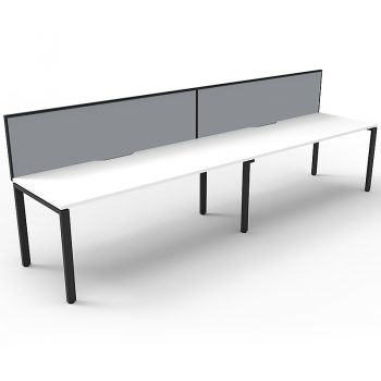 Supreme Desk, 2 Person In-Line, White Desk Tops, Black Under Frame, with Grey Screen Dividers