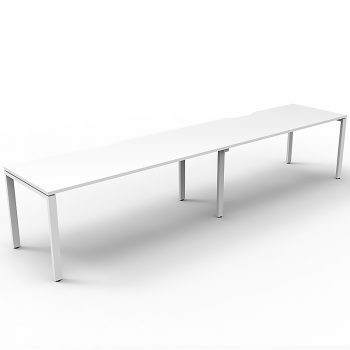 Supreme Desk, 2 Person In-Line, White Desk Tops, White Under Frame, No Screen Dividers