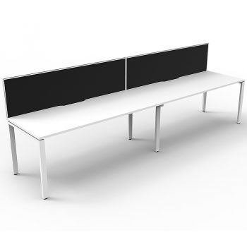 Supreme Desk, 2 Person In-Line, White Desk Tops, White Under Frame, with Black Screen Dividers
