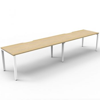 Supreme Desk, 2 Person In-Line, Natural Oak Desk Tops, White Under Frame, No Screen Dividers