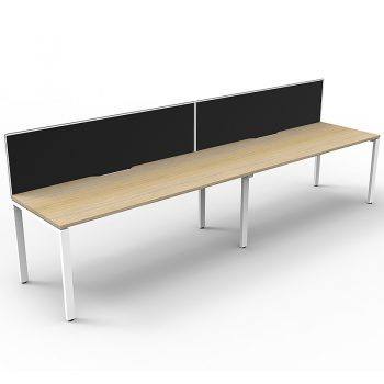 Supreme Desk, 2 Person In-Line, Natural Oak Desk Tops, White Under Frame, with Black Screen Dividers
