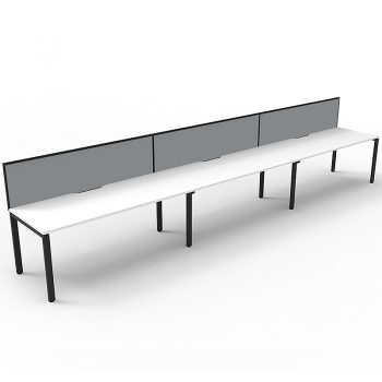 Supreme Desk, 3 Person In-Line, White Desk Tops, Black Under Frame, with Grey Screen Dividers