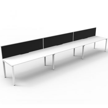 Supreme Desk, 3 Person In-Line, White Desk Tops, White Under Frame, with Black Screen Dividers