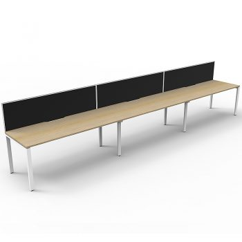 Supreme Desk, 3 Person In-Line, Natural Oak Desk Tops, White Under Frame, with Black Screen Dividers