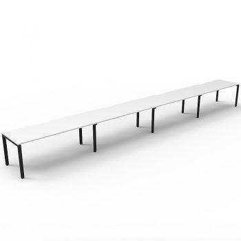 Supreme Desk, 4 Person In-Line, White Desk Tops, Black Under Frame, No Screen Dividers